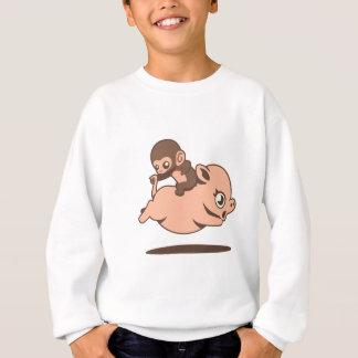 Sweatshirt Singe de bébé (allant à reculons sur un porc)