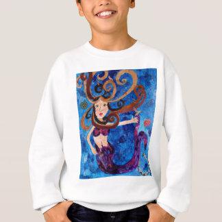 Sweatshirt Sirène en mer avec la peinture d'art d'oiseaux