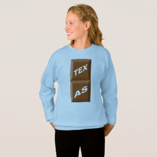 SWEATSHIRT SWEAT-SHIRT  HANES  BLEU CIEL TEXAS  CHOCOLAT