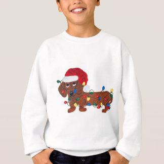 Sweatshirt Teckel embrouillé dans des lumières de Noël