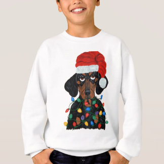 Sweatshirt Teckel Père Noël embrouillé dans des lumières de