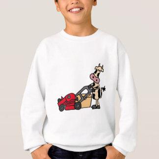 Sweatshirt Vache drôle poussant la bande dessinée rouge de