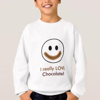 """Sweatshirt Visage souriant de chocolat """"j'AIME vraiment le"""