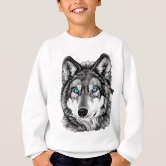 Sweatshirt Yeux bleus peints de gamme de gris de loup