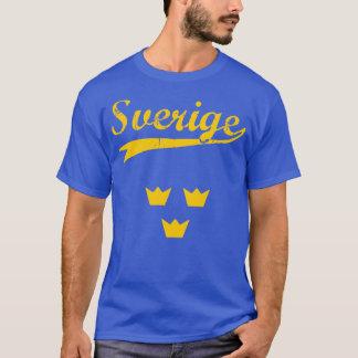 Sweden, Sverige, 3 crowns and text, blue t-shirt