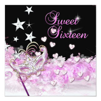 Sweet sixteen 16 étoiles roses de coeurs de masque carton d'invitation  13,33 cm