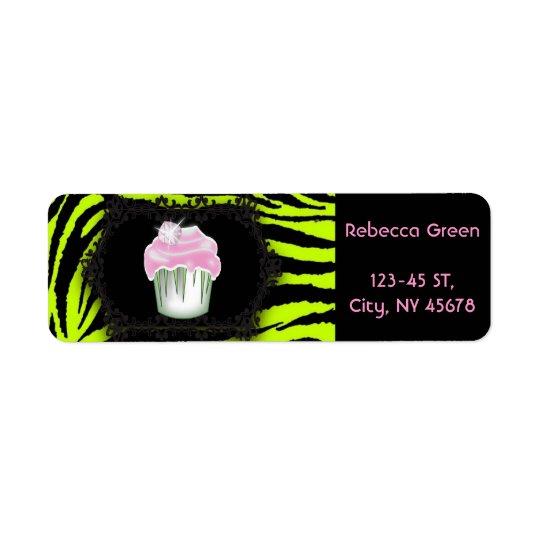 Sweet sixteen de petit gâteau de rose d'impression étiquette d'adresse retour