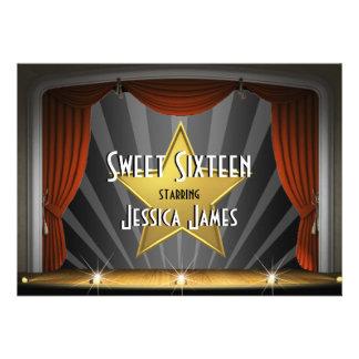 Sweet sixteen de star de cinéma cartons d'invitation personnalisés