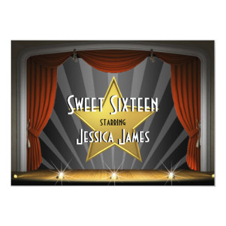 Sweet sixteen de star de cinéma carton d'invitation  12,7 cm x 17,78 cm