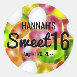 Sweet sixteen de sucrerie de dragée à la gelée de sticker rond
