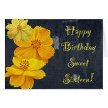 Sweet sixteen floral d'anniversaire de cosmos cartes
