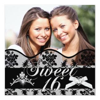 Sweet sixteen noir de photo de jumeaux du bonbon carton d'invitation  13,33 cm