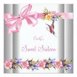 Sweet sixteen rose blanc de papillon du bonbon 16 faire-part