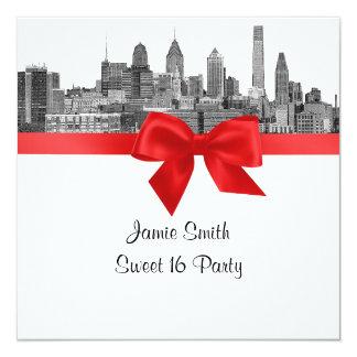 Sweet sixteen rouge de BW gravure à l'eau forte Carton D'invitation 13,33 Cm