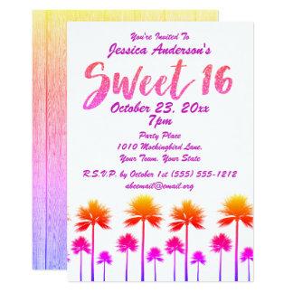 Sweet sixteen tropical de palmiers de plage carton d'invitation  12,7 cm x 17,78 cm