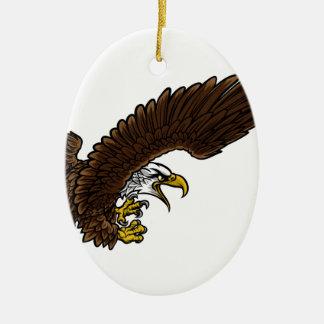 Swooping d'Eagle Ornement Ovale En Céramique