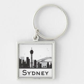 Sydney, Australie horizon noir et blanc de   de Porte-clé Carré Argenté