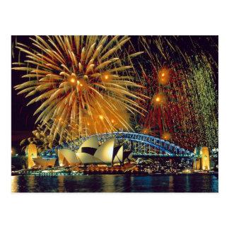 Sydney sous la carte postale de feux d'artifice
