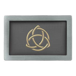 """Symbole """"à trois dimensions"""" d'or 2 de trinité sai boucle de ceinture rectangulaire"""