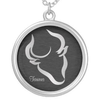 Symbole argenté de zodiaque de Taureau Pendentif Rond