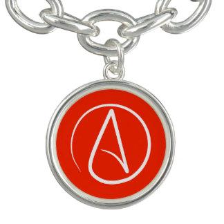 Symbole athée : blanc sur le rouge bracelets avec breloques