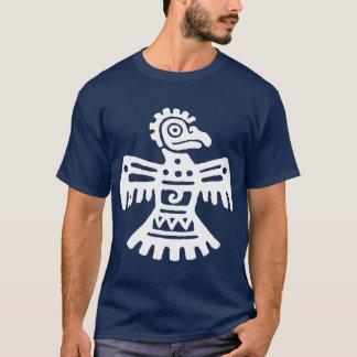 Symbole aztèque primitif blanc d'oiseau du t-shirt