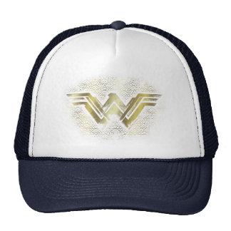 Symbole balayé d'or de femme de merveille casquette de camionneur