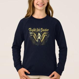Symbole balayé d'or de femme de merveille sweatshirt