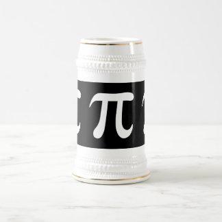 Symbole blanc de pi sur l'arrière - plan noir chope à bière