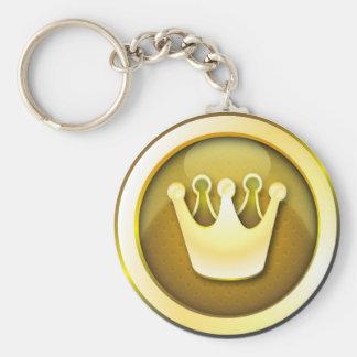 Symbole brillant de couronne de porte - clé porte-clé rond