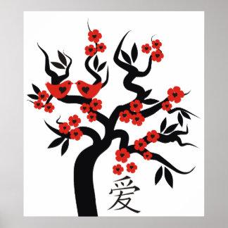 Symbole chinois d'amour d'inséparables sur l'arbre posters