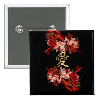 Symbole chinois d'amour sur la fractale rouge pin's