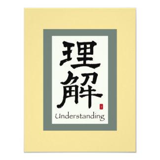 Symbole chinois de rouleau pour la compréhension carton d'invitation 10,79 cm x 13,97 cm