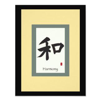 Symbole chinois de rouleau pour l'harmonie carton d'invitation 10,79 cm x 13,97 cm