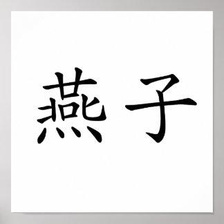 Symbole chinois pour l'hirondelle poster