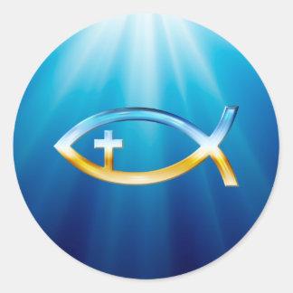 Symbole chrétien de poissons avec le crucifix - sticker rond