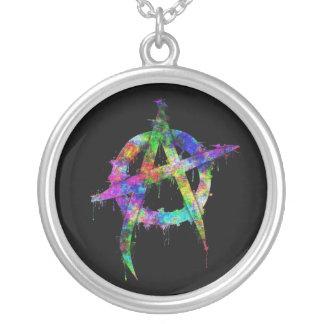 Symbole d'anarchie d'arc-en-ciel pendentif rond