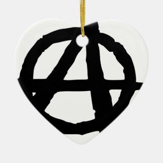 Symbole d'anarchie ornement cœur en céramique