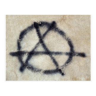 Symbole d'anarchie peint sur un mur carte postale