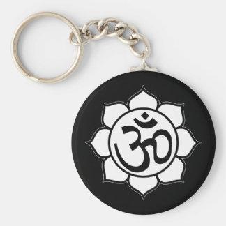 Symbole d'Aum de fleur de Lotus Porte-clé Rond