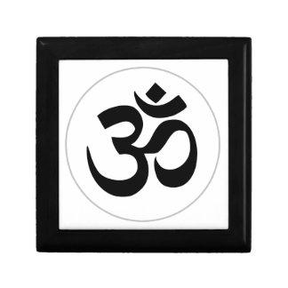 Symbole d'Aum (noir avec l'anneau argenté) Petite Boîte À Bijoux Carrée