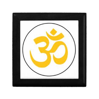 Symbole d'Aum (or avec l'anneau noir) Petite Boîte À Bijoux Carrée