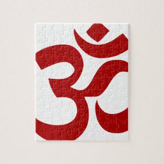 Symbole d'Aum (rouge foncé, minimal) Puzzle