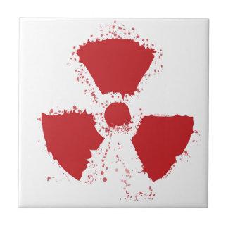 Symbole d'avertissement radioactif d'éclaboussure petit carreau carré