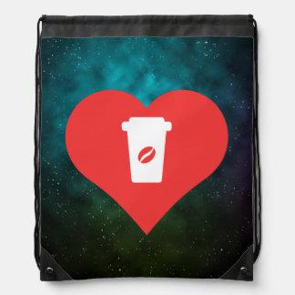 Symbole de café noir sacs avec cordons