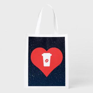 Symbole de café noir sacs d'épicerie