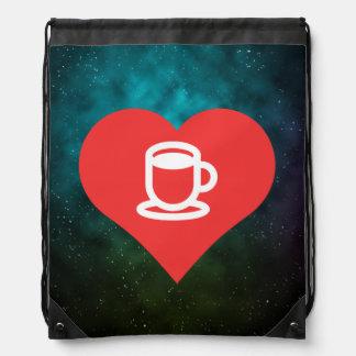 Symbole de chocolat chaud sacs avec cordons