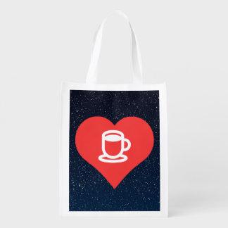 Symbole de chocolat chaud sac réutilisable d'épcierie