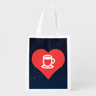 Symbole de chocolat chaud sacs d'épicerie réutilisables