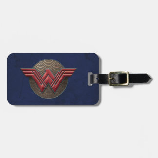 Symbole de femme de merveille au-dessus des étiquette à bagage